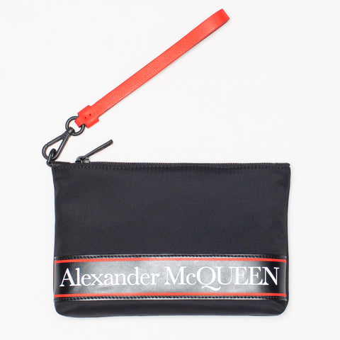 ALEXANDER MCQUEENS LOGO STRIPE ZIPPED CLUTCH BLACK