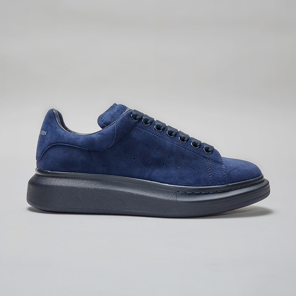 ALEXANDER MCQUEEN RAISED SOLE LOW TOP SNEAKER VELOUR BLUE/BLUE