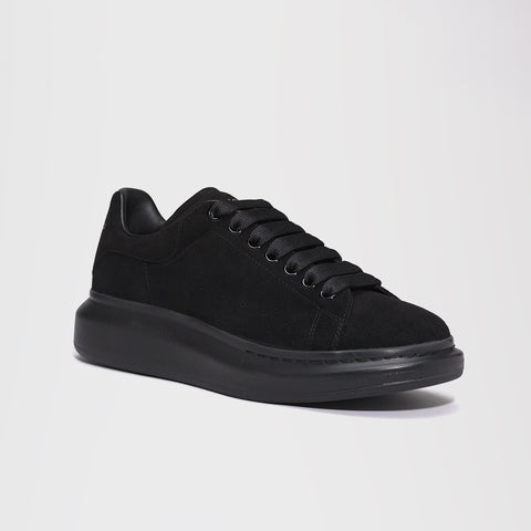 ALEXANDER MCQUEEN RAISED SOLE LOW TOP SNEAKER VELOUR BLACK/BLACK