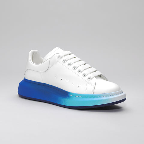 ALEXANDER MCQUEEN RAISED SOLE LOW TOP SNEAKER WHITE/BLUE SOLE