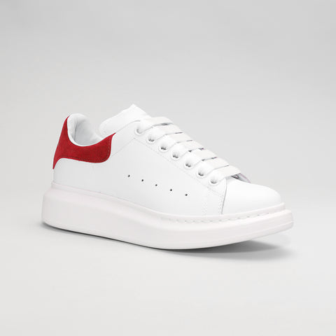ALEXANDER MCQUEEN RAISED SOLE LOW TOP SNEAKER WHITE/RED SUEDE