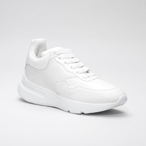 ALEXANDER MCQUEEN RAISED SOLE LOW TOP LEATHER SNEAKER WHITE