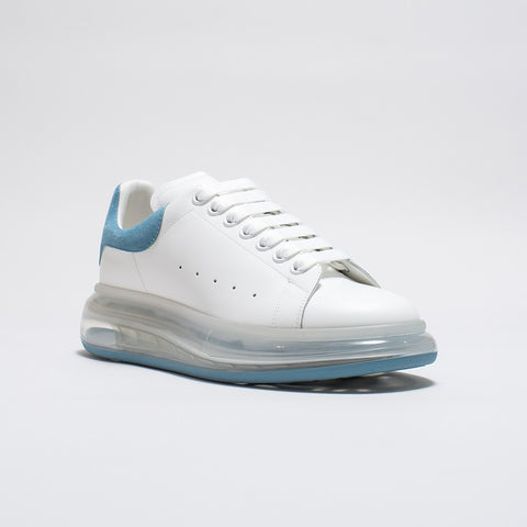 ALEXANDER MCQUEEN RAISED SOLE LOW TOP SNEAKER BLUE SUEDE TAB