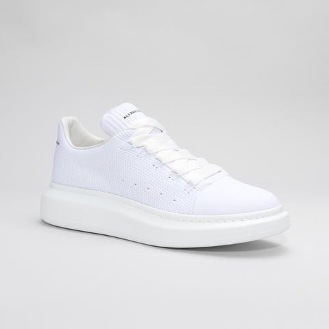 ALEXANDER MCQUEEN RAISED SOLE LOW MESH TRAINER WHITE/WHITE