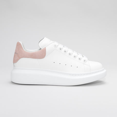 ALEXANDER MCQUEEN RAISED SOLE LOW TOP SNEAKER WHITE/PINK SUEDE