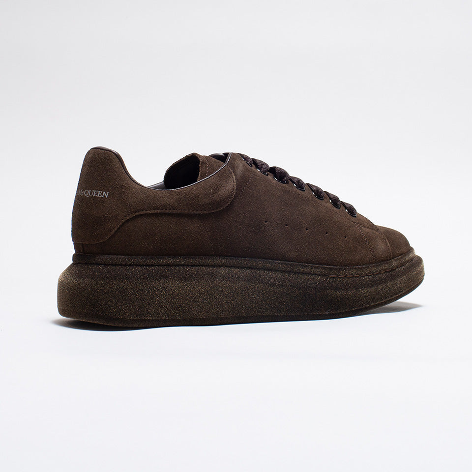 ALEXANDER MCQUEEN RAISED SOLE LOW TOP SUEDE FLOCKED SNEAKER BROWN