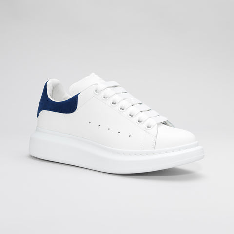 ALEXANDER MCQUEEN RAISED SOLE LOW TOP SNEAKER WHITE/BLUE SUEDE