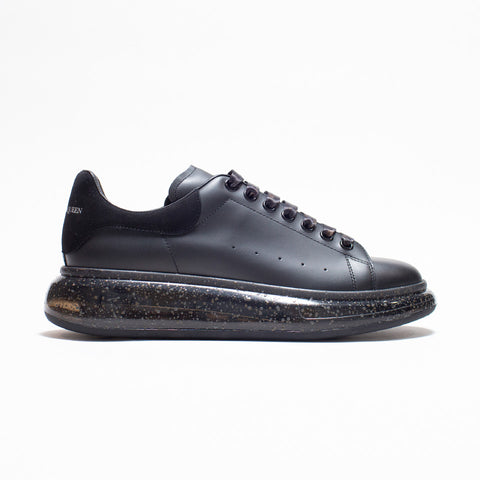 ALEXANDER MCQUEEN RAISED SOLE LOW TOP SNEAKER BLACK SUEDE TAB