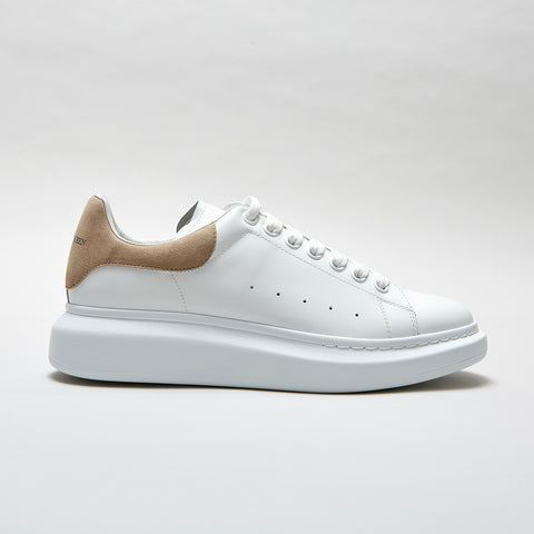 ALEXANDER MCQUEEN RAISED SOLE LOW TOP SNEAKER BEIGE SUEDE TAB