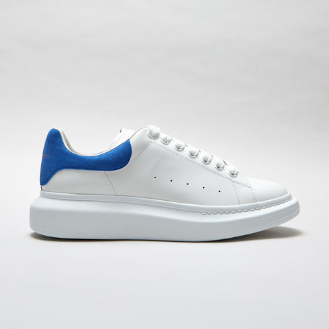 ALEXANDER MCQUEEN RAISED SOLE LOW TOP SNEAKER WHITE/ ELECTRIC BLUE SUEDE