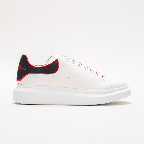 ALEXANDER MCQUEEN RAISED SOLE LOW TOP SNEAKER RUBBER TAB WHITE/BLACK/RED