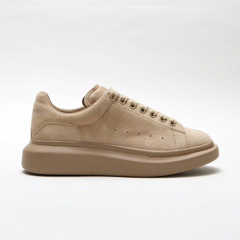 ALEXANDER MCQUEEN RAISED SOLE LOW TOP SNEAKER BEIGE SUEDE
