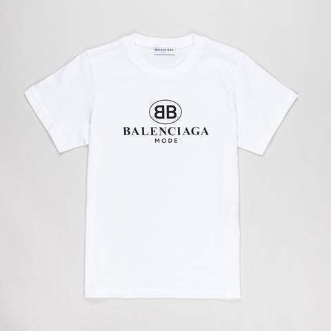 BALENCIAGA WOMENS LOGO-PRINT COTTON-JERSEY T-SHIRT WHITE