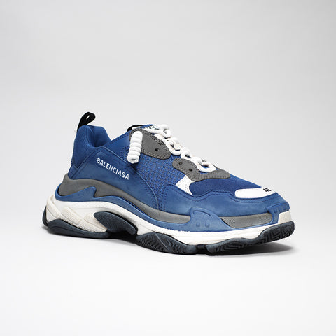 BALENCIAGA TRIPLE S MESH SUEDE AND LEATHER BLUE