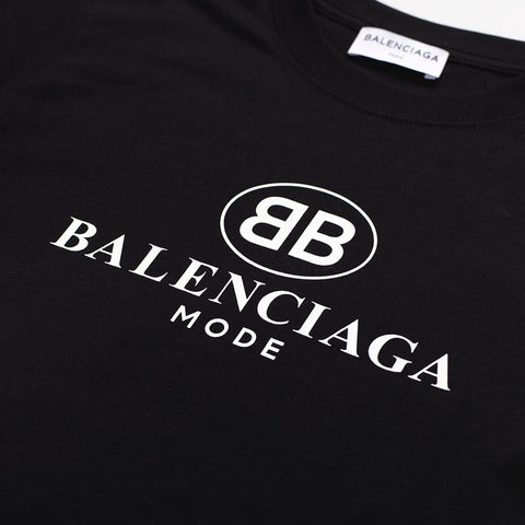 BALENCIAGA WOMENS LOGO-PRINT COTTON-JERSEY T-SHIRT BLACK
