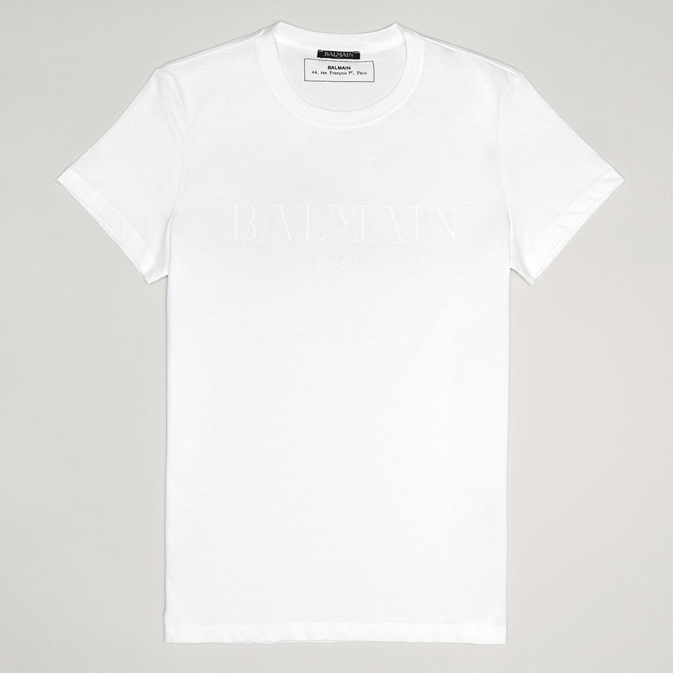 BALMAIN WHITE LOGO T SHIRT WHITE