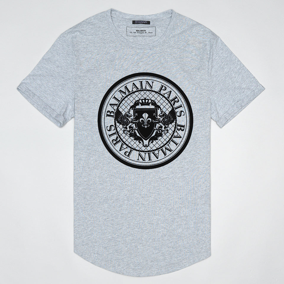 BALMAIN FLOCKED BLACK LOGO T SHIRT GREY