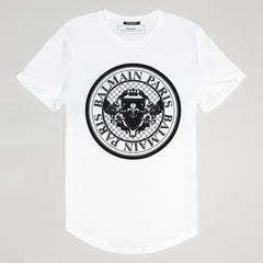 BALMAIN FLOCKED BLACK LOGO T SHIRT WHITE