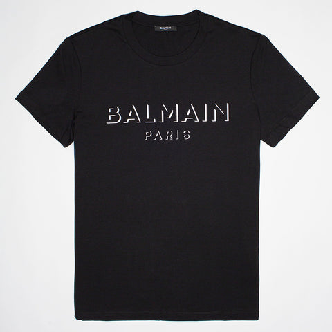 BALMAIN 3D EFFECT LOGO T SHIRT BLACK