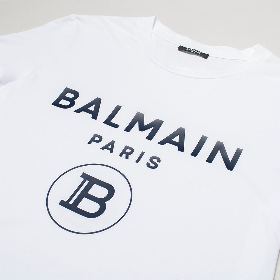 BALMAIN RUBBER LOGO T SHIRT WHITE