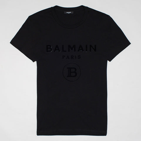 BALMAIN RIASED FELT LOGO T SHIRT BLACK
