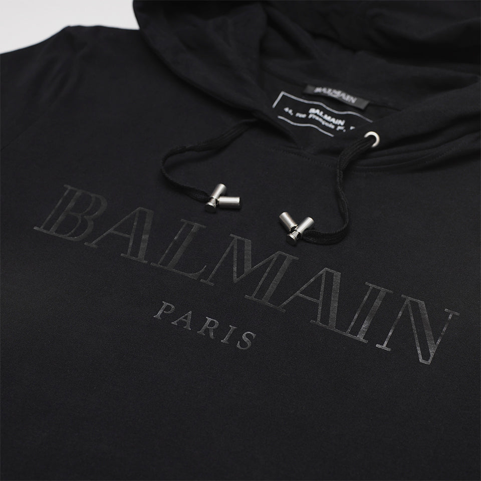 BALMAIN LOGO PRINT BRUSHED COTTON-JERSEY HOODED SWEATSHIRT BLACK