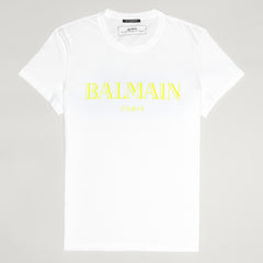BALMAIN YELLOW LOGO T SHIRT WHITE