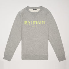 BALMAIN LOGO-PRINT COTTON-JERSEY SWEATSHIRT GREY