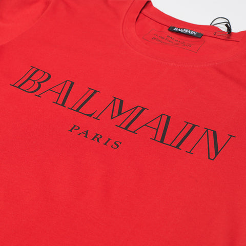 BALMAIN LOGO PRINT T-SHIRT RED