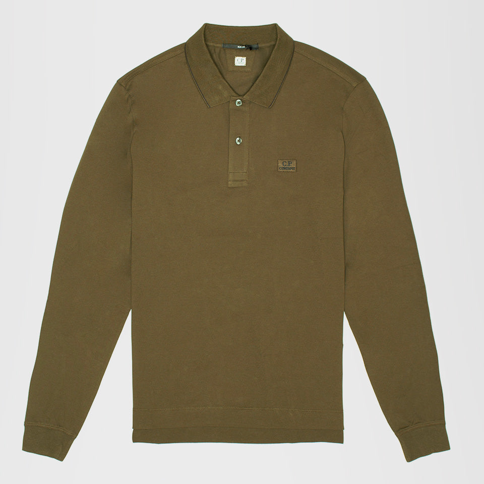 CP COMPANY STRETCH PIQUE STRIPED COLLAR LONG SLEEVE POLO GREEN