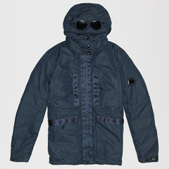 CP COMPANY HOODED PUFFER JACKET BLUE