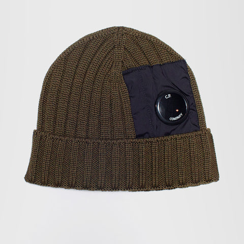 CP COMPANY MERINO WOOL MIXED LENS BEANIE GREEN