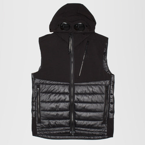 CP COMPANY QUILTED GOGGLE GILET BLACK