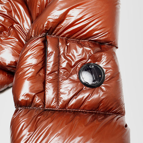 CP COMPANY DD SHELL PADDED LENS JACKET IN POMPEIAN CINNAMON