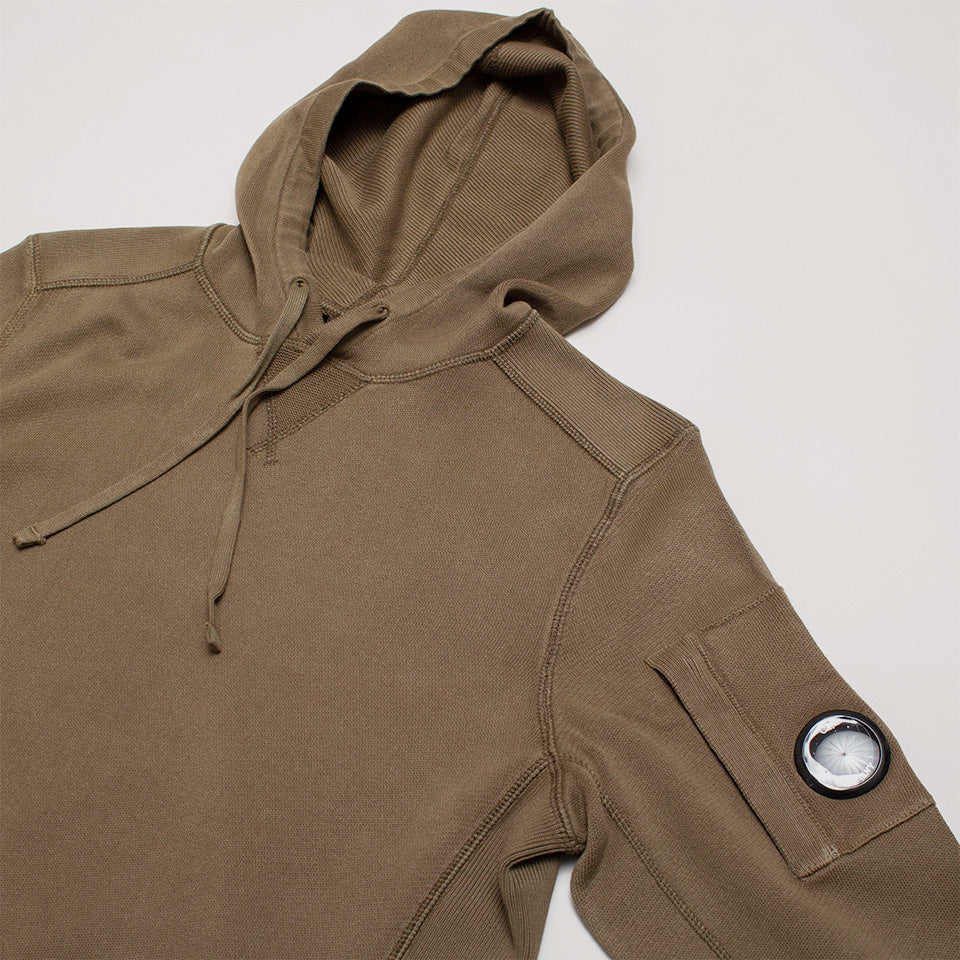 CP COMPANY GARMENT DYED KNIT LENS HOODIE IN OLIVE GREEN