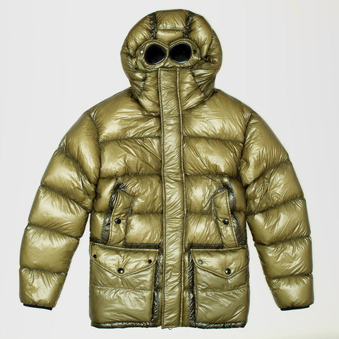 CP COMPANY HOODED PERTEX DOWN FILLED GOGGLE JACKET GREEN