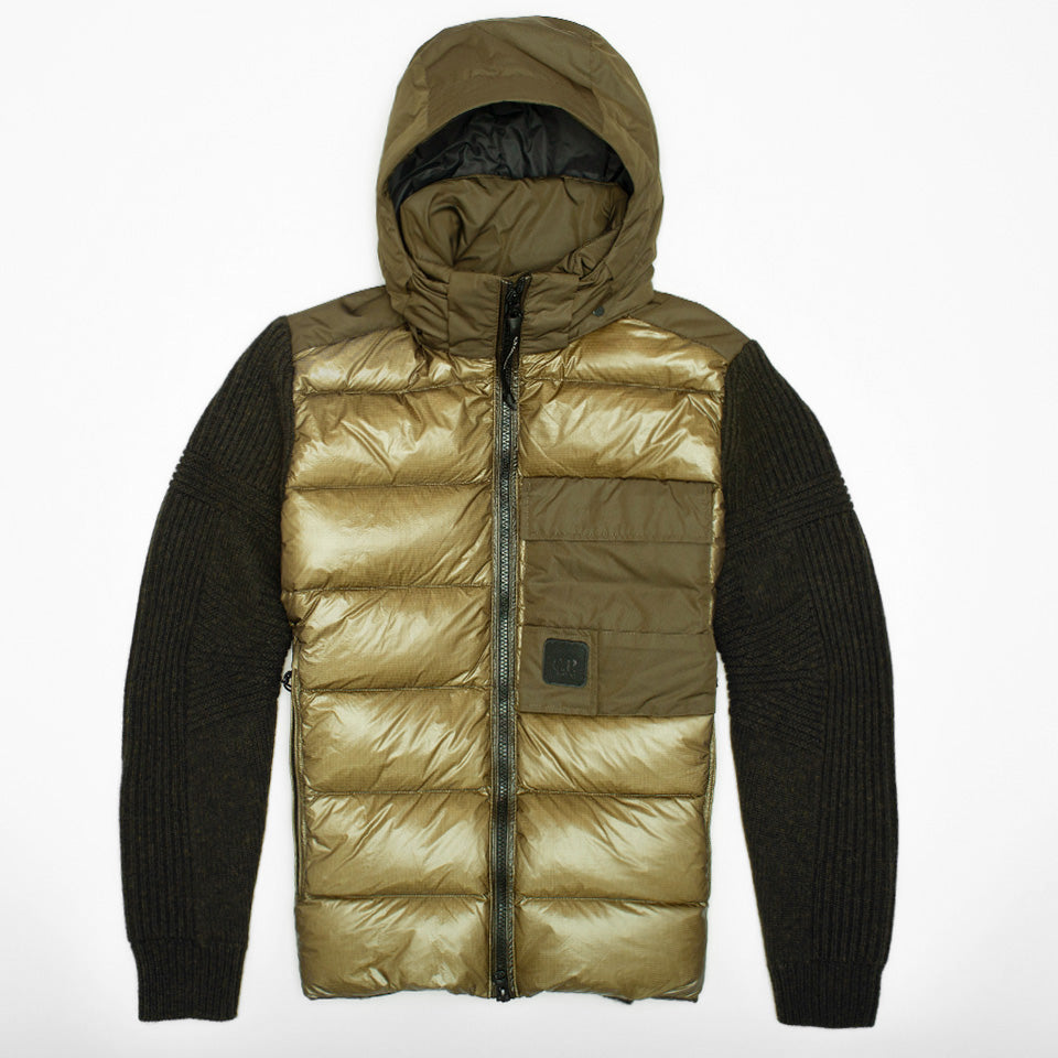 CP COMPANY KNIT NYLON MIXED JACKET OLIVE GREEN