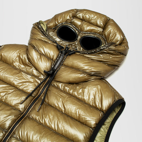 CP COMPANY HOODED GOGGLE GILET GREEN