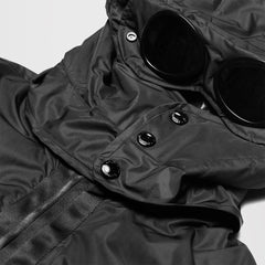 CP COMPANY HOODED PUFFER JACKET BLACK