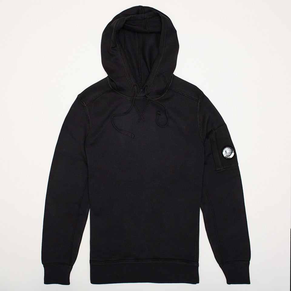 CP COMPANY GARMENT DYED KNIT LENS HOODIE IN BLACK