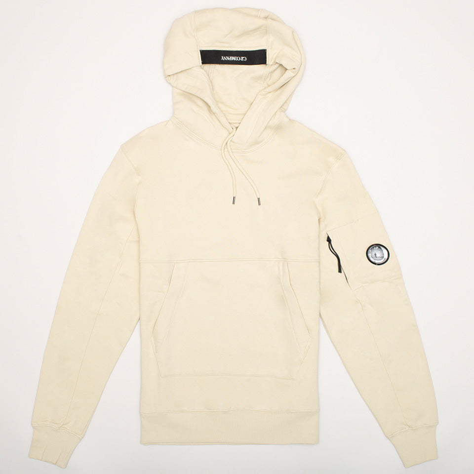 CP COMPANY FLEECE HOODED LENS HOODIE OYSTER GREY