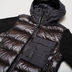CP COMPANY KNIT NYLON MIXED JACKET BLACK