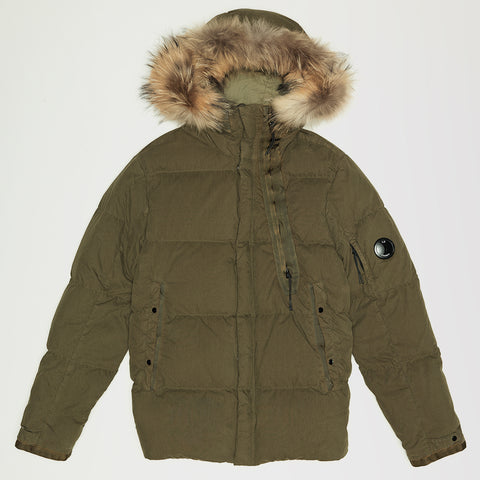 CP COMPANY 50 FILI FUR HOODED MID PUFFER JACKET OLIVE