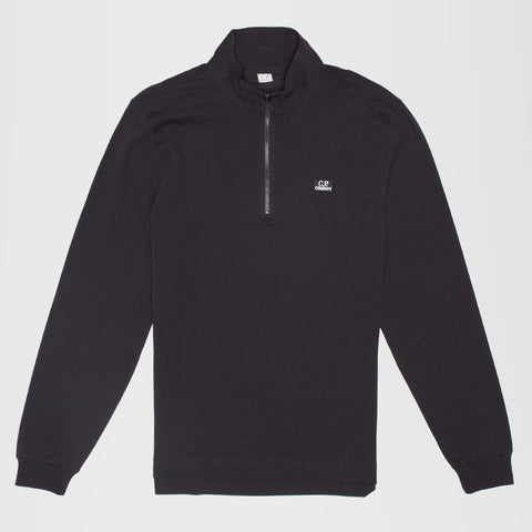 C.P. COMPANY ZIP FUNNEL NECK LONG SLEEVE POLO SHIRT DARK NAVY