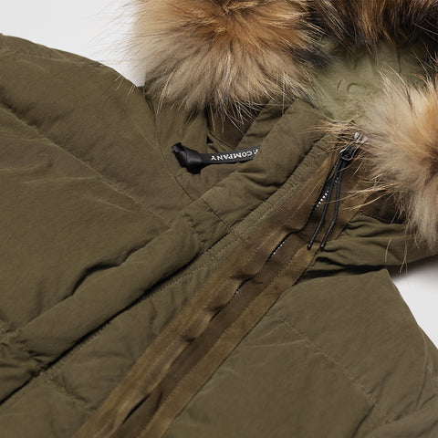 CP COMPANY 50 FILI FUR HOODED PUFFER JACKET OLIVE
