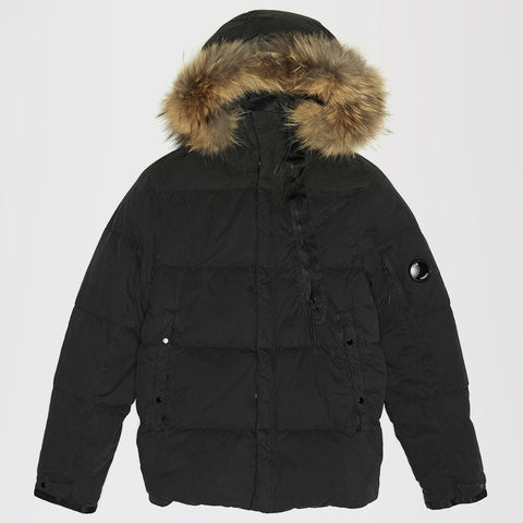 CP COMPANY 50 FILI FUR HOODED MID PUFFER JACKET BLACK