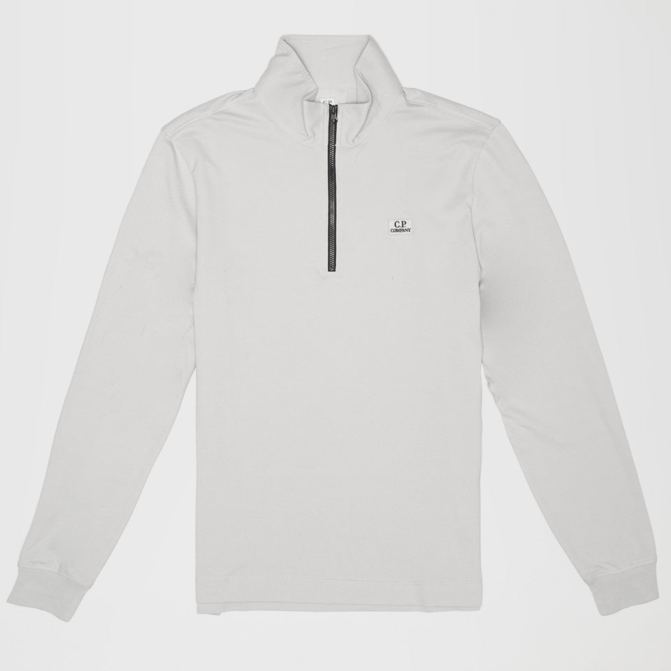 C.P. COMPANY ZIP FUNNEL NECK LONG SLEEVE POLO SHIRT GREY