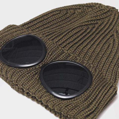 CP COMPANY GOGGLES BEANIE OLIVE