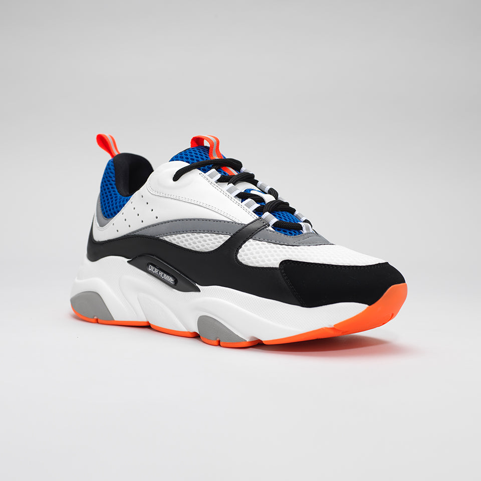 DIOR B22 CALFSKIN TRAINER WHITE/BLUE/ORANGE