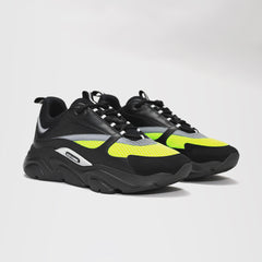 DIOR B22 CALFSKIN TRAINER BLACK/YELLOW